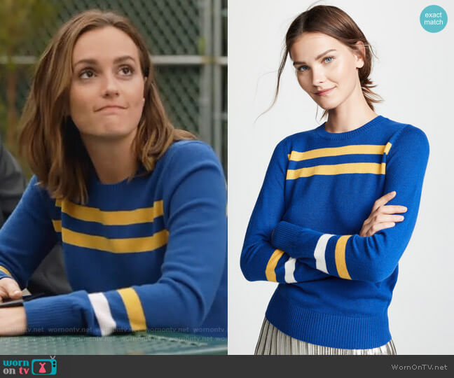 Marlowe Striped Wool & Cashmere Sweater by Rebecca Minkoff worn by Angie (Leighton Meester) on Single Parents