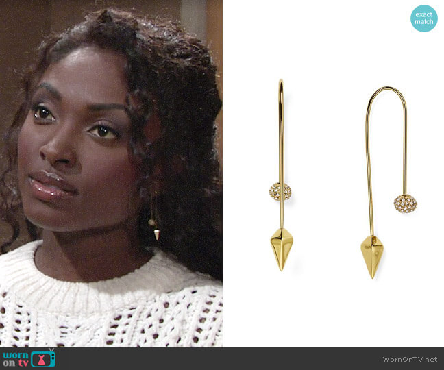 Rebecca Minkoff Pavé Ball Threader Earrings worn by Ana Hamilton (Loren Lott) on The Young & the Restless