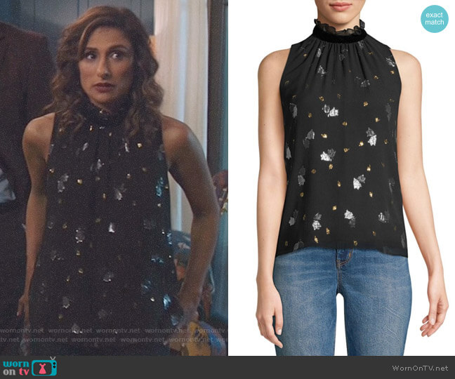 Sleeveless Metallic Tulip Blouse by Rebecca Taylor worn by Emet Kamala-Sweetzer (Sarayu Blue) on I Feel Bad