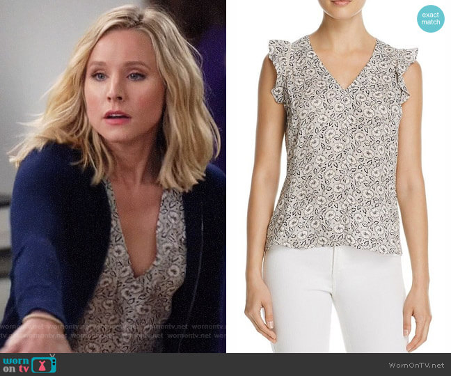 Rebecca Taylor Floral Print Silk Ruffle Top worn by Eleanor Shellstrop (Kristen Bell) on The Good Place