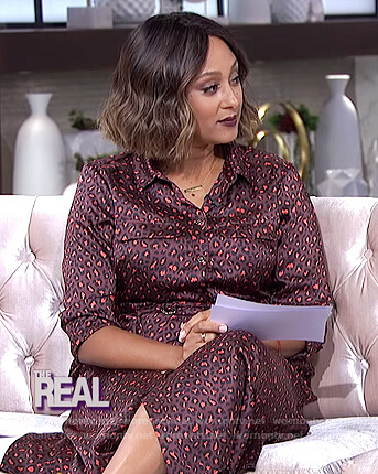 Tamera's red leopard print shirtdress on The Real