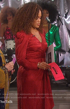Eve's red leopard print silk dress on The Talk