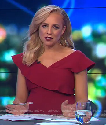 Carrie's red ruffle off shoulder dress on The Project