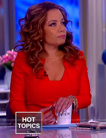 Sunny's red square neck top on The View