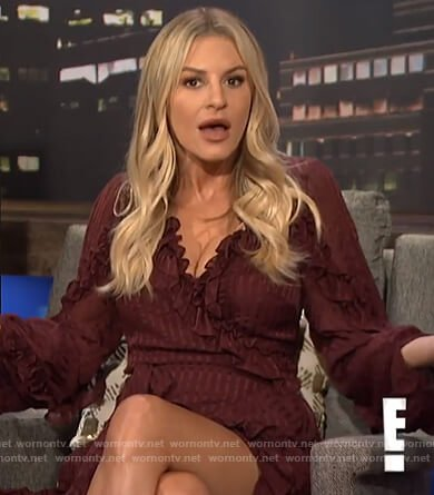 Morgan's red ruffle wrap dress on E! News Nightly Pop