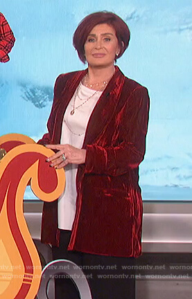 Sharon's red velvet blazer on The Talk