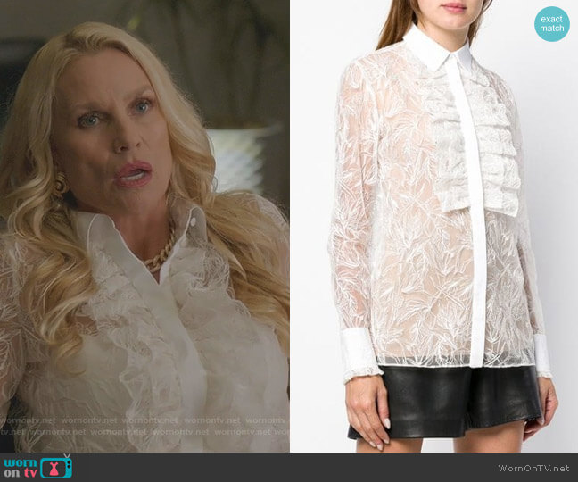 Ruffle Front Lace Shirt by Roberto Cavalli worn by Alexis Carrington (Nicollette Sheridan) on Dynasty