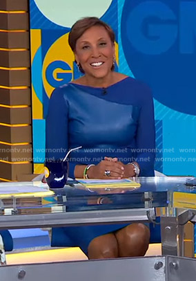 Robin's blue leather front dress on Good Morning America