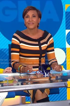 Robin's orange striped knit dress on Good Morning America