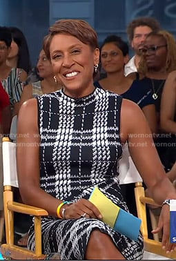 Robin's black plaid sheath dress on Good Morning America