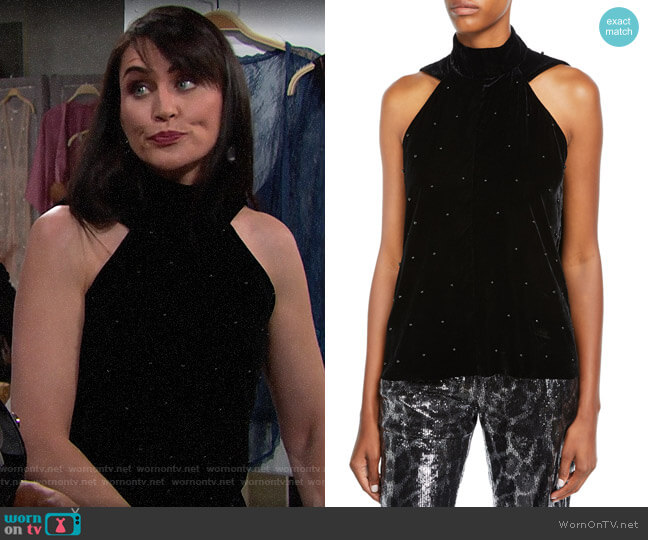 RtA Birdie Velvet Halter Top worn by Quinn Fuller (Rena Sofer) on The Bold & the Beautiful