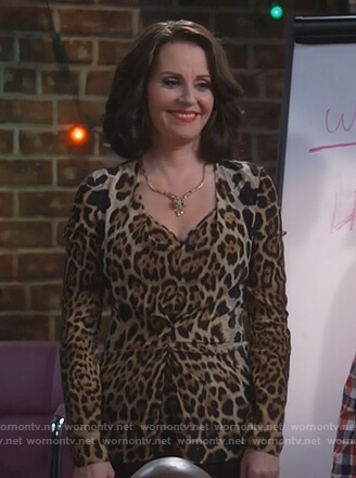Karen's leopard print ruched blouse on Will and Grace