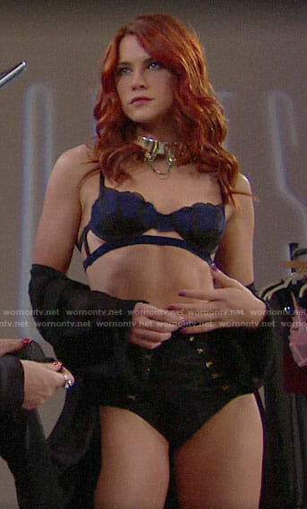 Sally's blue lace bra on The Bold and the Beatiful