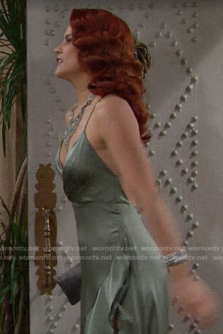 Sally's green Thanksgiving dress on The Bold and the Beautiful