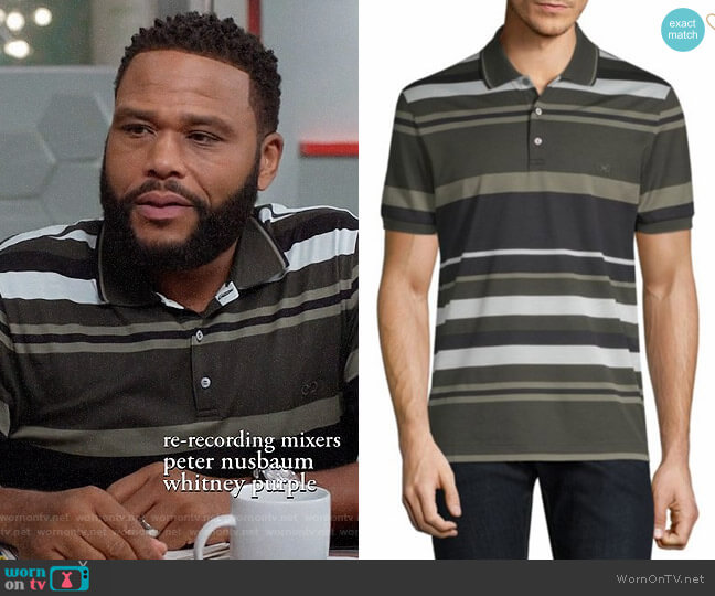 Salvatore Ferragamo Striped Pique Polo worn by Andre Johnson (Anthony Anderson) on Blackish