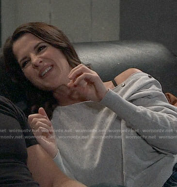 Sam's grey buttoned sleeve sweater on General Hospital