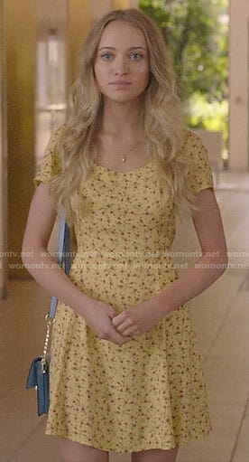 Samantha's yellow floral dress on Queen America