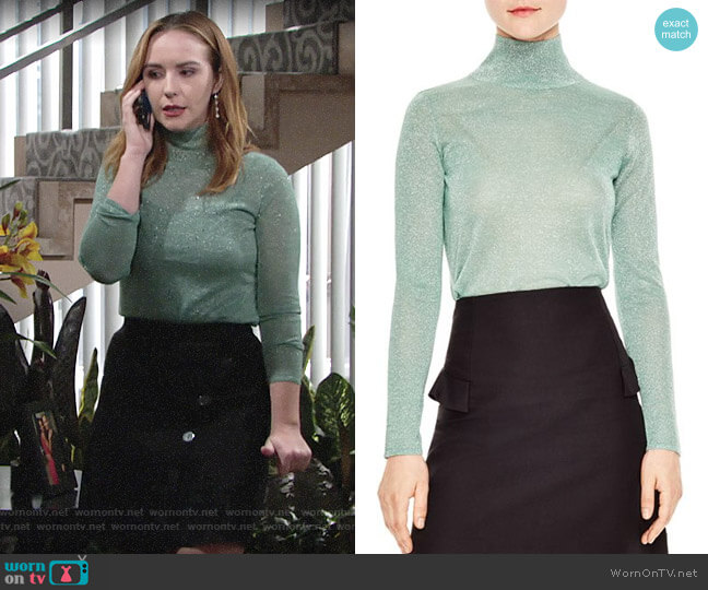 Sandro Ornements Metallic Sparkling Mock-Neck Sweater worn by Mariah Copeland (Camryn Grimes) on The Young & the Restless
