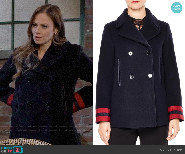 Sandro Cynda Ribbon-Cuff Double-Breasted Peacoat worn by Kim Nero (Tamara Braun) on General Hospital