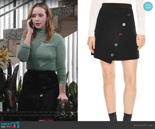 Sandro Fiji Asymmetric Decorative-Button Skirt worn by Mariah Copeland (Camryn Grimes) on The Young & the Restless