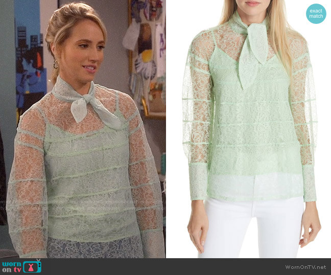 Sandro Izzie Lace Top worn by Mandy Baxter (Molly McCook) on Last Man Standing