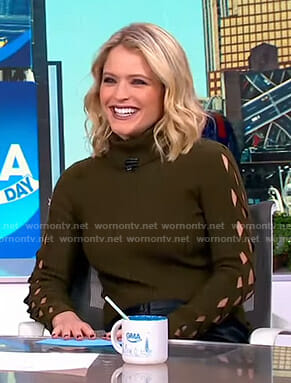 Sara's green lace-up sleeve sweater on GMA Day