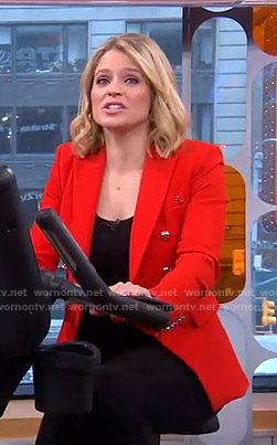 Sara's red double breasted blazer on GMA Strahan and Sara