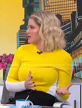 Sara's yellow and white sweater on GMA Day