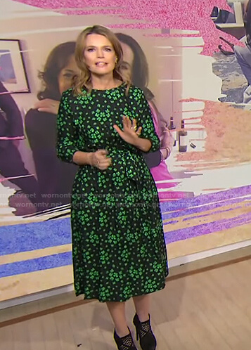 Savannah's black and green clover print dress on Today
