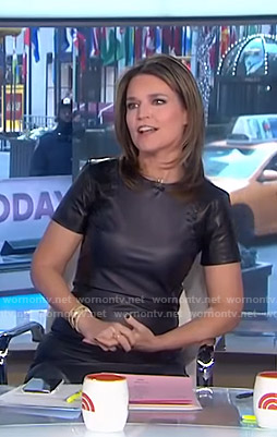 Savannah's black whipstitch leather dress on Today
