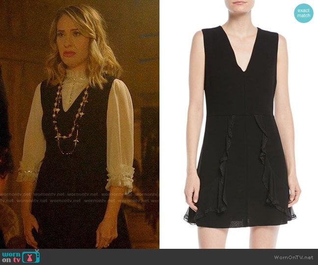 See by Chloe V-Neck Sleeveless A-Line Mini Dress w/ Ruffled Trim worn by Coco St. Pierre Vanderbilt (Leslie Grossman) on American Horror Story