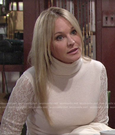 Sharon's lace sleeve sweater and wrap skirt on The Young and the Restless