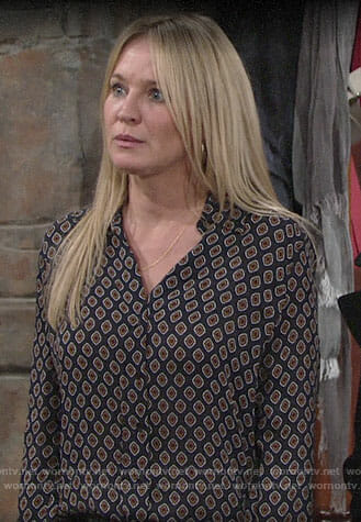 Sharon's printed button down shirt on The Young and the Restless
