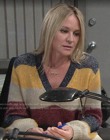 Sharon's metallic striped sweater on The Young and the Restless