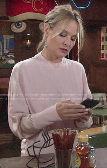 Sharon's pink silk back sweater on The Young and the Restless