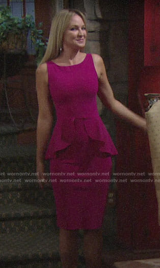 Sharon's pink peplum dress on The Young and the Restless