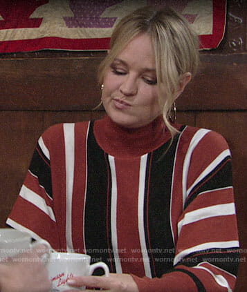 Sharon's brown striped sweater on The Young and the Restless