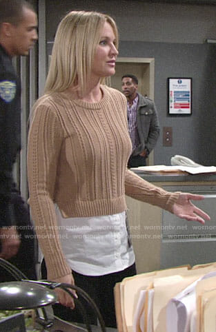 Sharon's tan layered sweater on The Young and the Restless