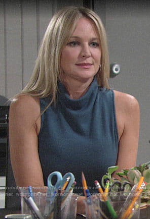 Sharon's teal draped neck dress on The Young and the Restless