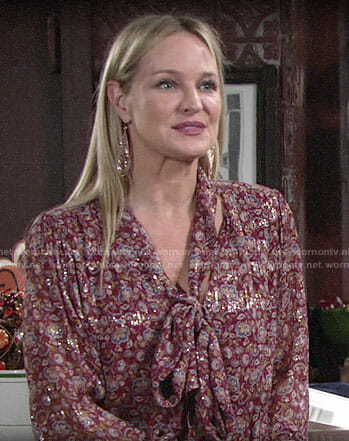 Sharon's metallic floral Thanksgiving blouse on The Young and the Restless