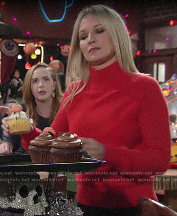 Sharon's red sweater with pink trim on The Young and the Restless