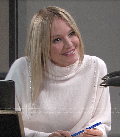 Sharon's white studded turtleneck on The Young and the Restless