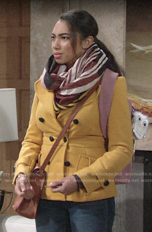 Shauna's yellow peacoat on The Young and the Restless