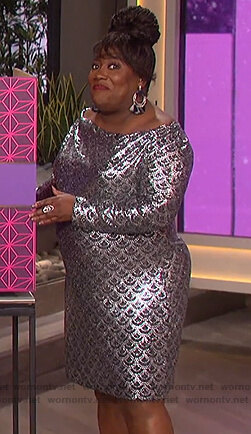 Sheryl's silver sequin dress on The Talk