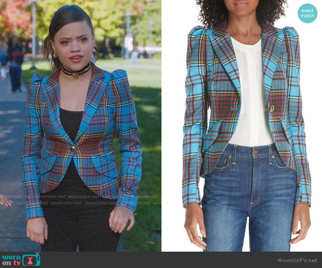 Smythe Pouf Sleeve Tartan Blazer worn by Maggie Vera (Sarah Jeffery) on Charmed