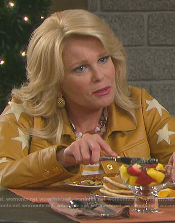 Bonnie's star patch leather jacket on Days of Our Lives