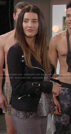 Steffy's black jacket on The Bold and the Beautiful