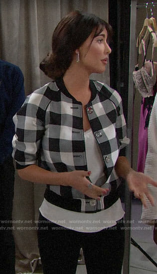 Steffy's gingham checked bomber jacket on The Bold and the Beautiful