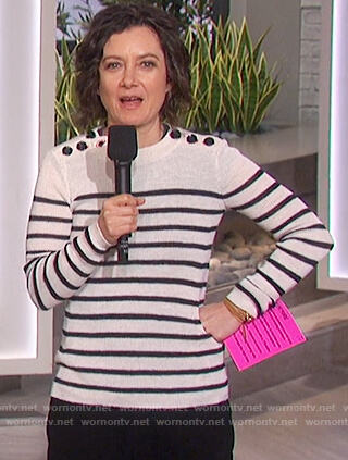 Sara's striped button shoulder sweater on The Talk