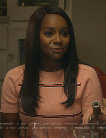 Michaela's pink striped short sleeve sweater on How to Get Away with Murder